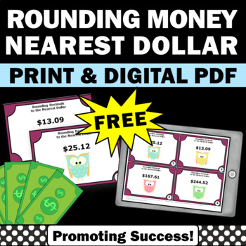 Free Money Task Cards Rounding To The Nearest Dollar Us By