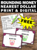 FREE Money Task Cards, Rounding to the Nearest Dollar,  US