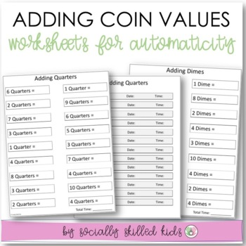 Summer Practice Math Worksheets For Automaticity {Adding Coin Values}