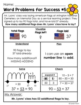 FREE May / Memorial Day Word Problem {For Success!}
