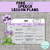 FREE May Speech Lesson Plans PK-2nd