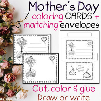 FREE - Mother's day coloring cards and matching envelopes