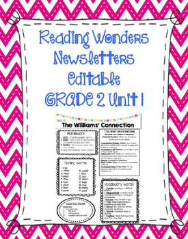 FREE McGraw-Hill Reading Wonders EDITABLE 2nd grade Weekly Newsletter UNIT 1 W1