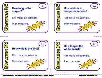 FREE Measure It! Task Cards for Grades 2-3 FREE