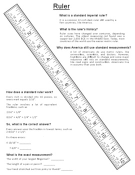 Free Fractions Measurement Ruler Printable Math Worksheet Tpt