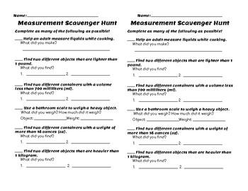FREE Measurement Scavenger Hunt Homework
