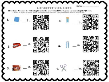 (FREE) Measuring to the Nearest Inch with QR Codes