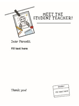 letter template meet the student teacher  FREE Meet the Student Teacher/Teacher Letter to Parents by ...
