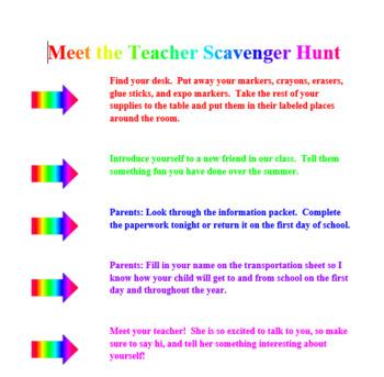 FREE Meet the Teacher Scavenger Hunt