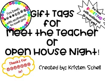 FREE Meet the Teacher or Open House Night Gift Tags!