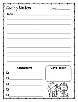 FREE Meeting Notes Stationery