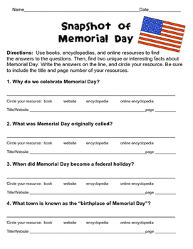 FREE! Memorial Day Scavenger Hunt for Beginning Researchers