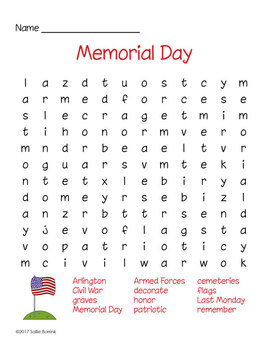 Memorial Day Word Search