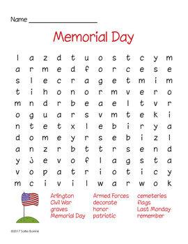 Memorial Day Word Search by Sallie Borrink | Teachers Pay ...