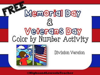 FREE Memorial Day and Veterans Day Color by Number (Division)
