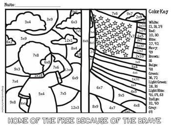 FREE Memorial Day and Veterans Day Color by Number (Multiplication Math Facts)
