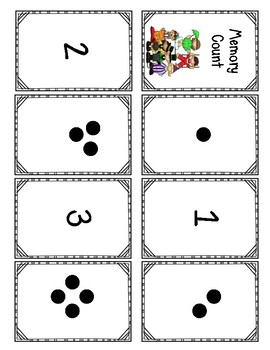 FREE Memory Match Counting Game For Kindergarten