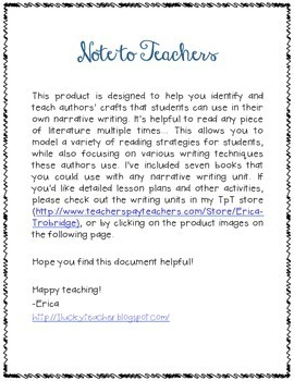 FREE Mentor Text List with Teaching Points- Narrative Writing