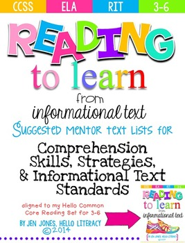 FREE Mentor Text Lists for Common Core Reading Informational Standards {3-6}