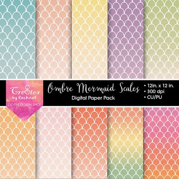 FREE Mermaid Scales Ombre Paper Pack, Under the Sea Theme, Pastels