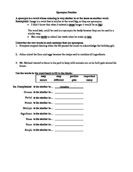 FREE Middle School Synonyms/Antonyms Practice