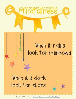 FREE Mindfulness Poster : Affirmations, Meditation, & Growth Mindset