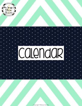 Mint and Navy Chevron Calendar