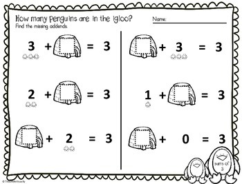 (FREE) Missing Addend Penguins Sum of 3 + Review (2 Worksheets)