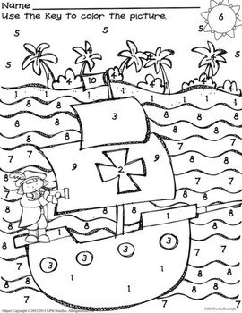 Free columbus day fun missing number worksheet color by for Christopher columbus coloring pages printable