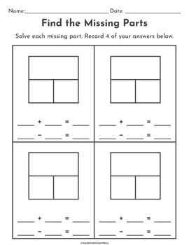 {1st Grade} Missing Part Math Center: Part-Part-Whole & Equation Matching Cards