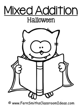 Halloween Quick and Easy to Prep Math Center Game for Mixed Addition Freebie