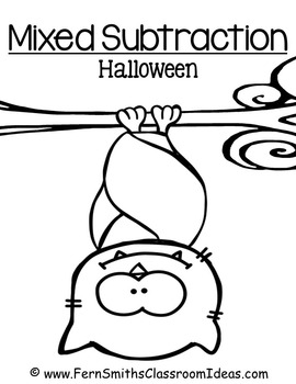 Halloween Quick and Easy to Prep Math Center Game Mixed Subtraction Freebie