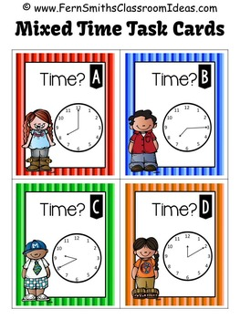 Telling Time to the Five Minutes Task Cards Freebie