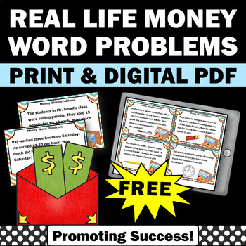 FREE Money Word Problems, 5th Grade Math Task Cards, Common Core Standards