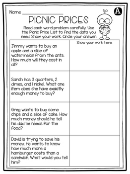 free money word problems activity by 2nd grade snickerdoodles tpt. Black Bedroom Furniture Sets. Home Design Ideas