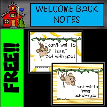 FREE Monkey Welcome Back to School Notes