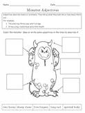 FREE! Monster Adjectives Worksheet