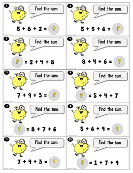 Monster Equations Task Cards using Add 3 Addends