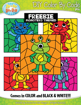 FREE Monsters Color By Code Clipart {Zip-A-Dee-Doo-Dah Designs}