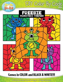 FREE Monsters Color By Code Clipart {Zip-A-Dee-Doo-Dah Designs}