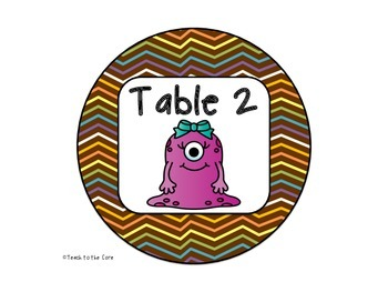 FREE! Monsters Theme Table Signs