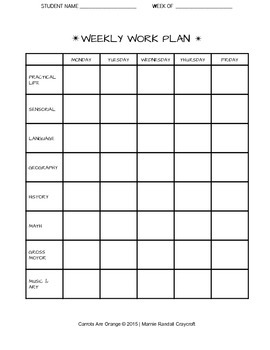 Montessori Pre-K & Kindergarten Weekly Work Plan WITH LEARNING AREAS