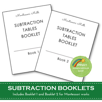 FREE Montessori Subtraction Tables Booklets