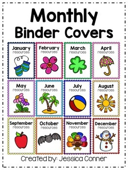 FREE Monthly Binder Covers