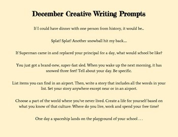 Monthly Creative Prompts for Upper Elementary