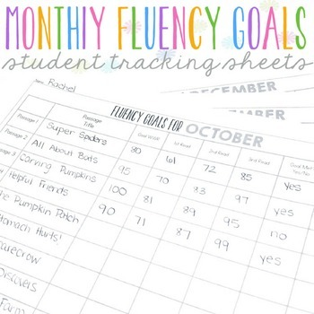 FREE Monthly Fluency Goals Tracking Sheets