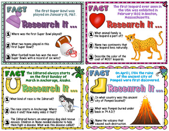 FREE Monthly Research Task Card Sampler
