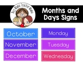 FREE Months of the Year and Days of the Week Signs for the