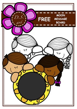 FREE - Moon Message Board Digital Clipart (color and black&white)