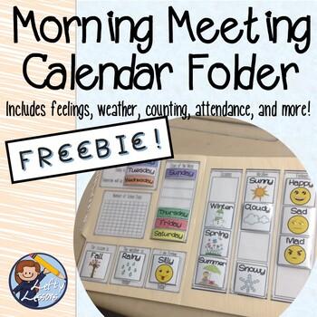 FREE Morning Meeting Calendar Folder